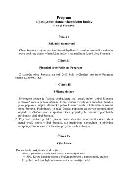 Program k poskytnutí dotace vlastníkům budov v obci Stonava