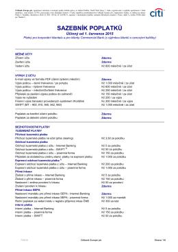 Standardní sazebník poplatků platný od 1.7.2015