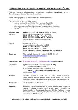 Informace k odjezdu do Španělska pro žáky BPA Ostrava oboru