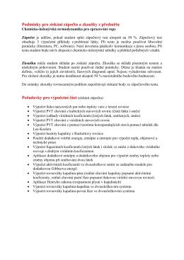 Podmínky pro získání zápočtu a zkoušky z předmětu Požadavky pro