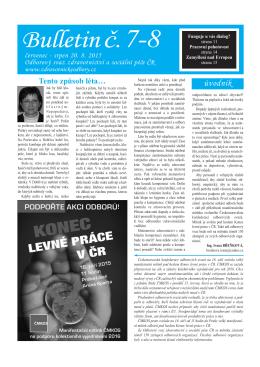Bulletin 7-8 2015 - Odborový svaz zdravotnictví a sociální péče ČR