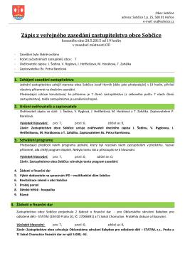 Zápis ze zasedání OZ Sobčice, 20.5.2015
