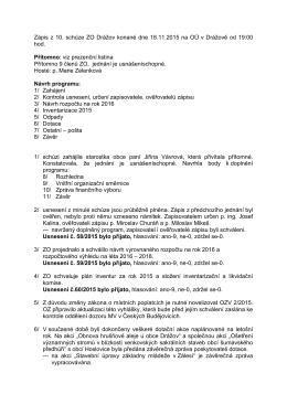 Zápis z 10. schůze ZO Drážov konané dne 18.11