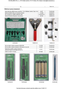 Nářadí pro opravy kompresorů
