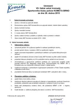 Usnesení VII. řádné valné hromady Sportovního