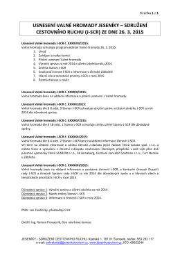 Usnesení Valné hromady z 26.3.2015