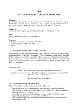 Zápis z 62. zasedání AS FFÚ VŠE dne 5. května 2015