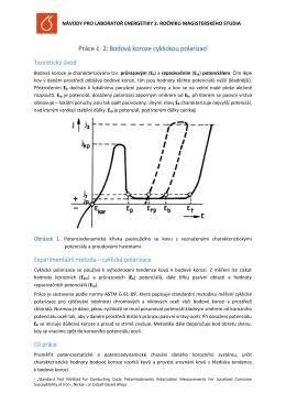 Práce č. 2:Bodová koroze cyklickou polarizací
