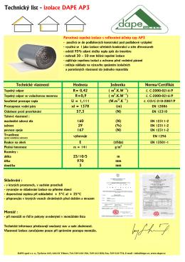 Technický list - izolace DAPE AP3