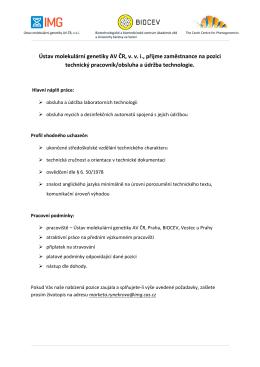 Ústav molekulární genetiky AV ČR, v. v. i., přijme zaměstnance na