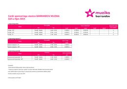 Ceník sponzoringu stanice BARRANDOV MUZIKA Září a říjen 2015