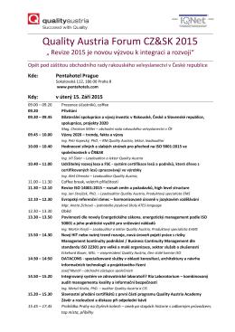 Quality Austria Forum CZ&SK 2015