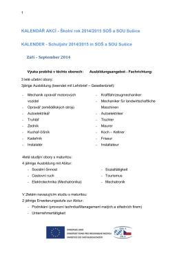 Školní rok 2013/2014 SOŠ a SOU Sušice