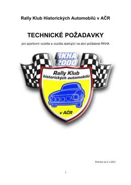 Technické Požadavky RKHA 2015 - Rally klub historických automobilů