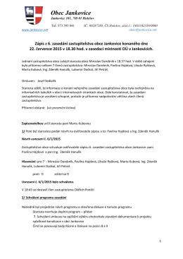 Zápis ze 6. zasedání zastupitelstva obce Jankovice