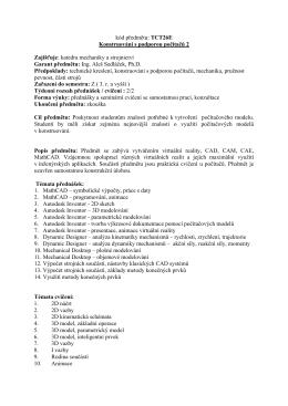 kód předmětu: TCT26E Konstruování s podporou