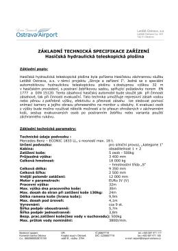 technická spec.hydraulické teleskopické plošiny