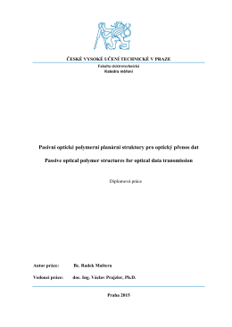 Pasivní optické polymerní planární struktury pro optický přenos dat