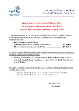 Úprava úhrady za poskytování odlehčovací služby Poradenským