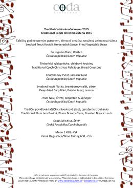 Tradiční české vánoční menu 2015 Traditional