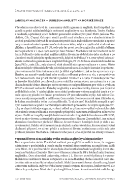 JAROSLAV MACHÁČEK — JUBILEUM ANGLISTY NA HORSKÉ