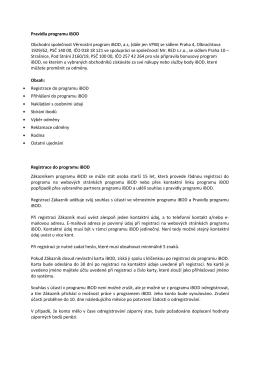 Pravidla programu iBOD Obchodní společnost Věrnostní
