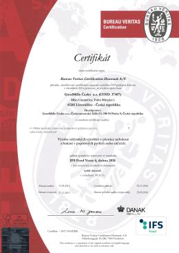 Certifikát IFS6 Litoměřice