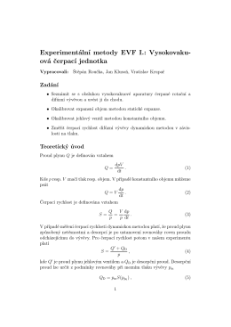 Experimentální metody EVF I.: Vysokovaku