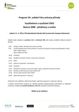 Program VII. setkání Fóra ochrany přírody Využitelnost a využívání
