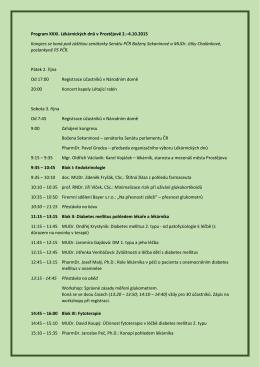 Program XXXI. Lékárnických dnů v Prostějově 2.–4.10.2015