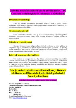 Nabídka rekvalifikačních kurzů pořádaných CTIV Centrem