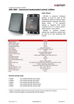 AXR-300i – Autonomní bezkontaktní snímač 125kHz