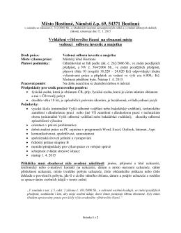 Výběrové řízení na vedoucí odboru investic a majetku MěÚ v