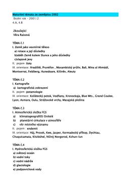 Maturitní témata ze zeměpisu 2002