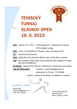 pozvánka 16.5. - Tenis Slavkov u Brna