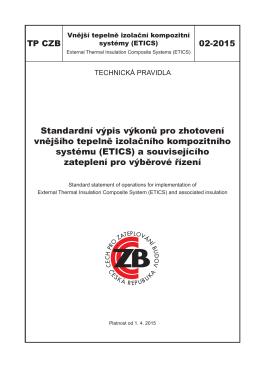 TP CZB 02-2015 - Standardní výpis výkonů pro zhotovení ETICS