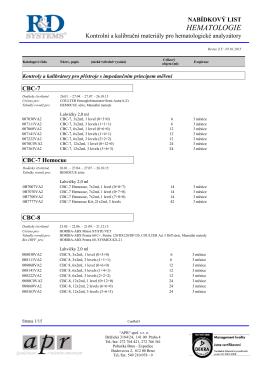Kontrolní a kalibrační materiály pro hematologické analyzátory