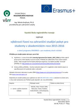 Výběrové řízení na studijní pobyt v zahraniční v rámci programu