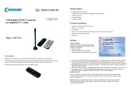 USB přijímač DVB-T LogiLink pro digitální TV a rádio Obj. č.: 94 33 12
