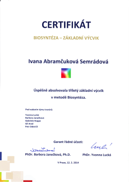 Certifikát Biosyntéza základní výcvik