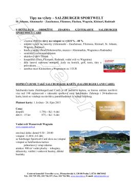 Tipy na výlety – SALZBURGER SPORTWELT