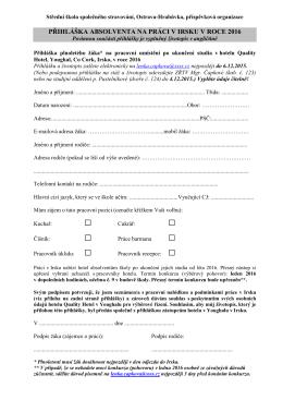 Přihláška na pracovní umístění