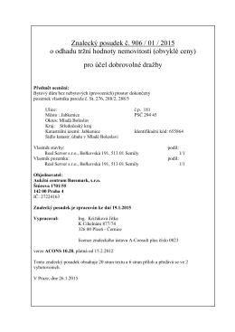 Znalecký posudek č. 906 / 01 / 2015 o odhadu tržní hodnoty