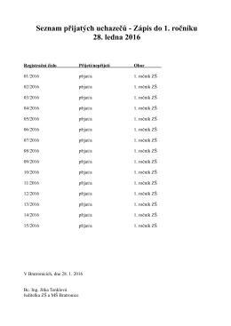 Seznam přijatých uchazečů - Zápis do 1. ročníku