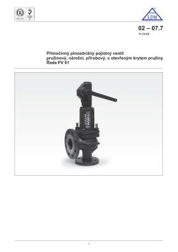 Přímočinný plnozdvižný pojistný ventil pružinový, nárožní, přírubový
