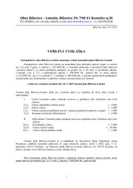 Veřejná vyhláška - Bílovice