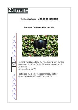 Vertikální zahrada Cascade garden Instalace TV do vertikální zahrady