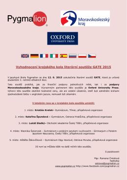 Vyhodnocení krajského kola literární soutěže GATE 2015