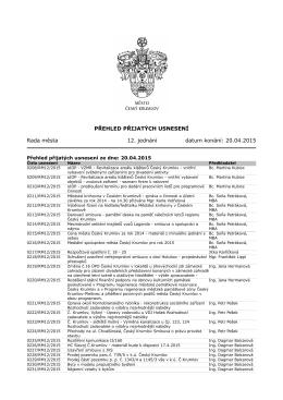 PŘEHLED PŘIJATÝCH USNESENÍ Rada města 12. jednání datum