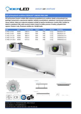 Produktový list verze vzájemně propojitelná svítidla